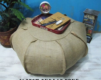 Natural  Burlap  Ottoman Puff Sleeve /Casual Shabby Housewarming Gift/Home Decor