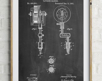 First Tattoo Machine Patent Poster, Tattoo Wall Art, Vintage Tattoo, Unique Gifts, Tattoo Parlor Prints, PP0814