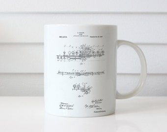 Flute 1908 Patent Mug, Music Room Decor, Flute Mug, Musician Gift, Marching Band, Band Director Gift, PP0820