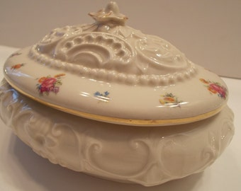 Vintage Rochelle Fine China Oval Bowl with Lid