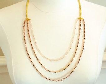 Rose Gold,Pale Pink and Gold Swarovski Necklace