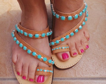 Greek leather sandals decorated with chain trim.  Leather flip flops. Leather toe ring sandals. Decorated leather sandals, flipflops