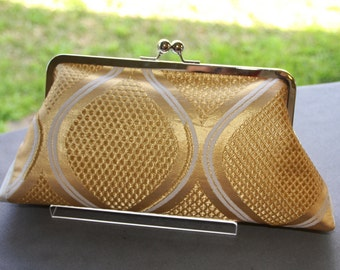 Gold Clutch/  Purse / Hand-made / Vintage Kimono Obi bag/ Handmade