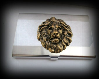 Lion head business card holder-credit card holder-stainless steel card holder-gothic card holder-steampunk card holder