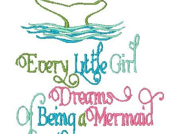 Machine Embroidery Design, Every little girl Dreams of being a mermaid, Sewget2thepoint, sg2tp embroidery, Mermaid embroidery, Sg2tp Mermaid
