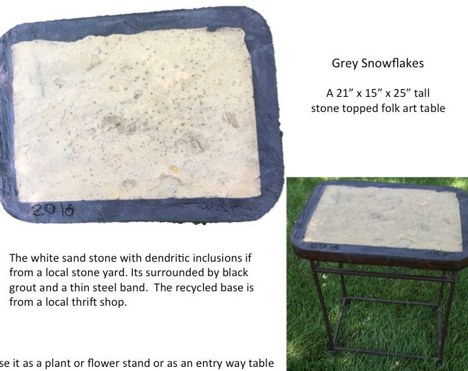 "Grey Snowflakes: A 21"" x 15"" x 25"" tall stone topped folk art table"