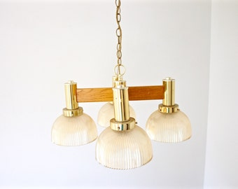Mid Century Atomic Chandelier - Wood and Brass Glass Globe Chandelier - Ceiling Light - Pendant