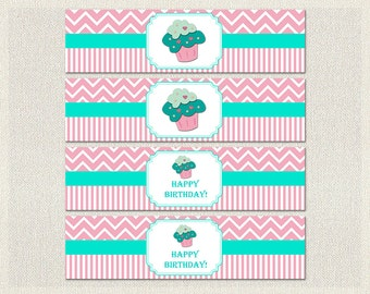 Printable Water Bottle Labels Wraps Birthday Cupcake Aqua 1st 2nd 3rd Pink Girl IV-6