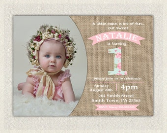 First Birthday Invitation Girls Shabby Chic Girls Pink Blue 1st 2nd 3rd Birthday Invites / Printable Invitation / Vintage Burlap (135)