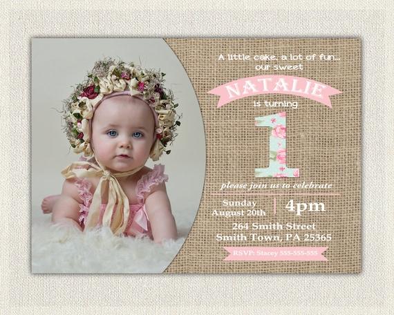 First Birthday Invitation Girls Shabby Chic Girls Pink Blue 1st 2nd ...