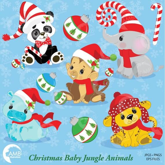 Christmas Jungle Animals Clipart Baby Animal