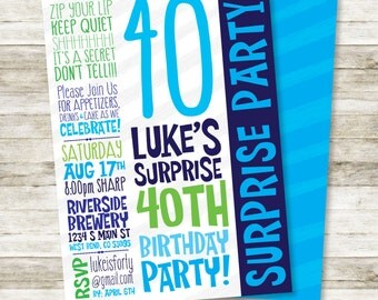 "Mens Surprise 40th Birthday Invitation - Masculine Surprise Party Invitation, Guys DIY Printable Invitation in Blue and Green, 5"" x 7"""