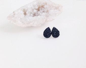 Black teardrop druzy earrings
