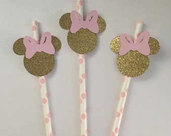 12 gold minnie mouse straws