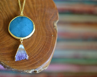 Camp Under an Organic Moon - Blue Jade & Amethyst - Gold Pendant Necklace