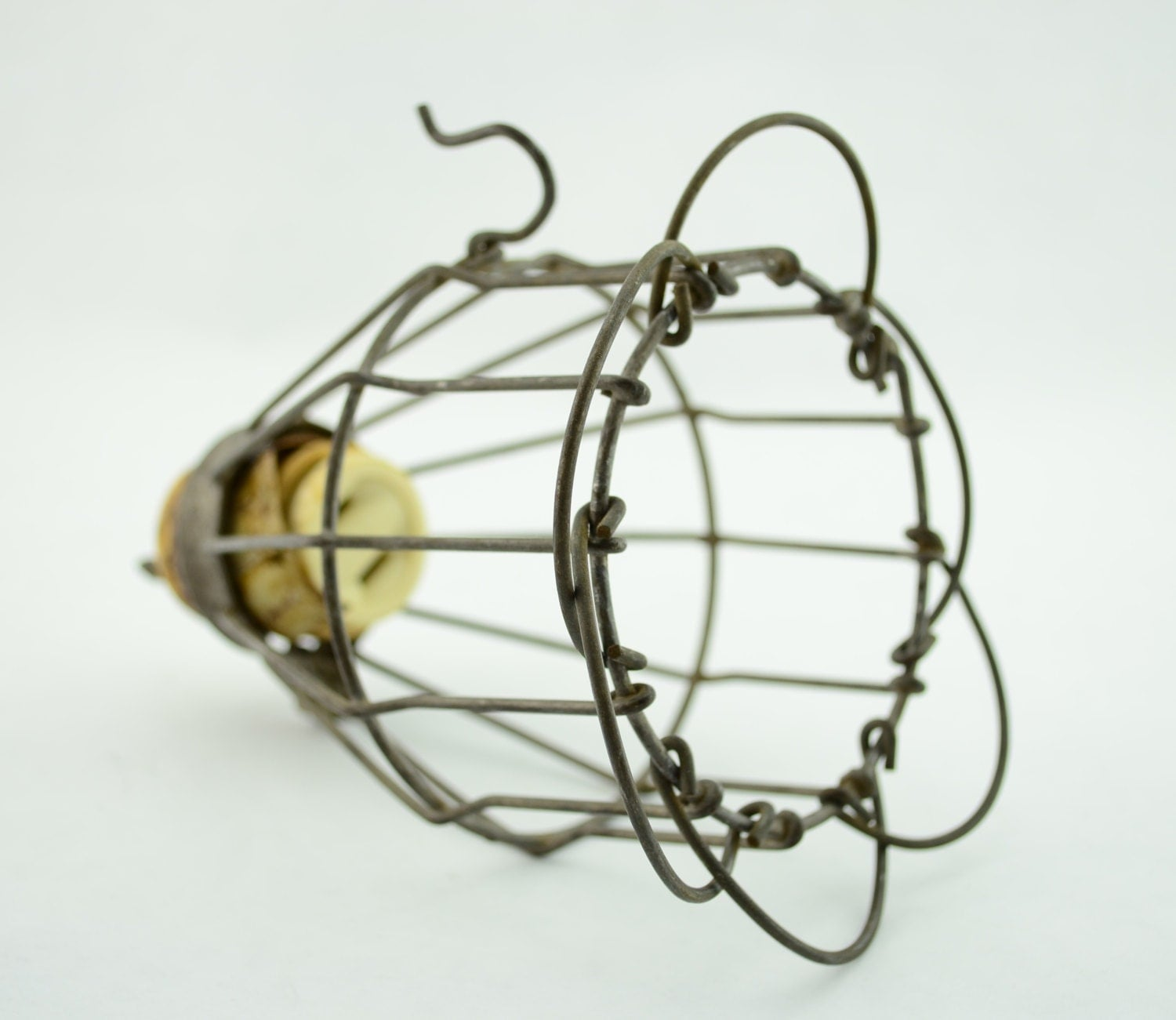 Vintage Industrial Wire Light Cage With Hook Safety Wire Cage