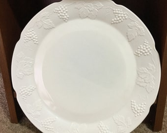 Vintage Milk Glass plate with grape pattern
