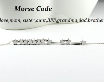 Morse Code Jewelry.Love,Sister.Mom.Dad.Aunt.Brother,BFF,Grandma Morse Code Necklace or bracelet,gift for her, Birthday Gift.