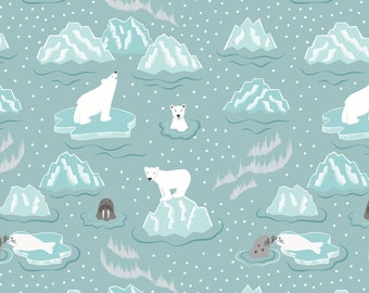 C3.1 Northern Lights Walrus and Friends Icy Blue Lewis & Irene Patchwork Quilting Fabric