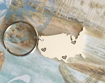 Multi City Map - Stamp Any Number of States - Hand Stamped Map Keychain - US Personalized Key chain - Long Distance Love - Stamped Map