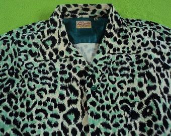 1950s Rockabilly Leopard Print Shirt Repro Style Eyes Japan XL NWT