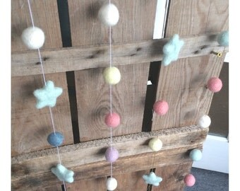 felt ball garlands, pompom garlands, fun colours, pastel, bright, natural, kids rooms, nursery, homedecor