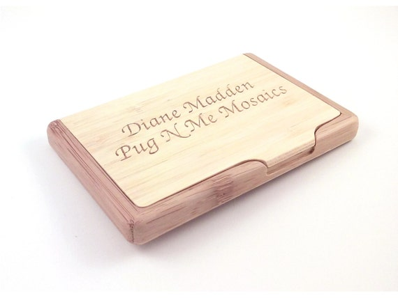 Engraved bamboo business card holder personalized with your for Bamboo business card holder