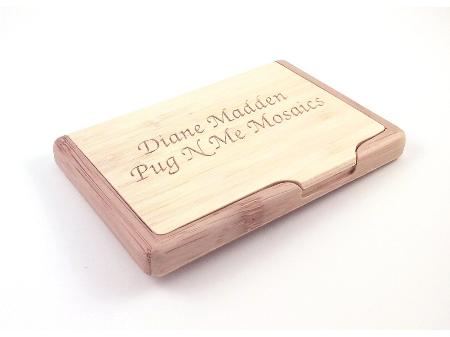 Engraved Bamboo Business Card Holder personalized with your