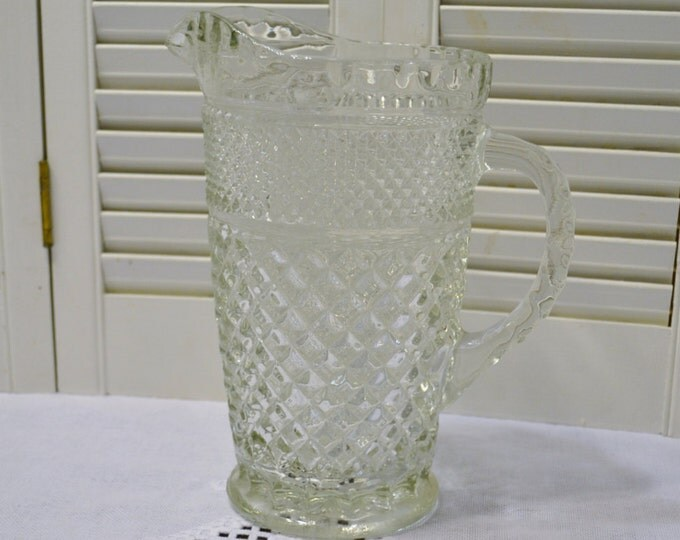 Vintage Wexford Glass Pitcher Clear Diamond Pattern Summer Ice tea Lemonade Panchosporch