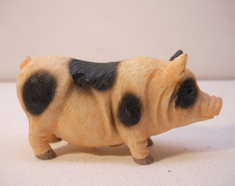 Pink / Black Pig Figurine Pigs