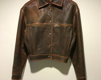 80's Euro Biker Leather Jacket