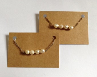 SALE - Vintage Fresh Water Pearl Necklace - Vintage Beads - Silver & Gold Plated - Handmade