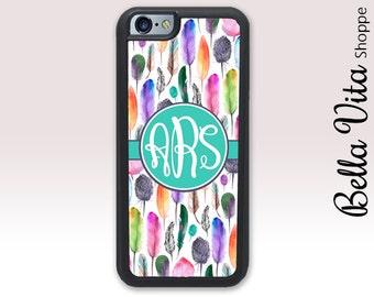 Boho Feathers iPhone 6 Case, Personalized iPhone 6S Case, Monogram iPhone 6 Case, Colorful Bohemian Boho Feathers 1217 I6S