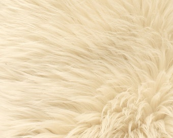"Faux Fur Long Pile Shaggy CREAM / 60"" Wide / Sold by the yard"