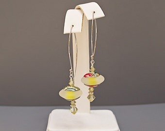 Long Yellow Earrings on Sterling Silver - Anniversary Gifts for Wife - Lampwork Jewelry
