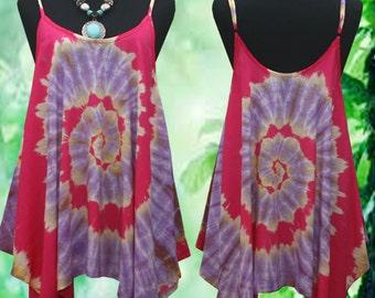 New Tropical Beach Vintage Spiral Handmade Art work Spaghetti Strap Tie dye Gypsy Tank Top US 6-14