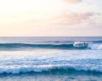 Hawaiian North Shore Surfer at Sunset