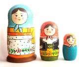Custom order Russian Nesting Dolls Real Wood Matryoshka set