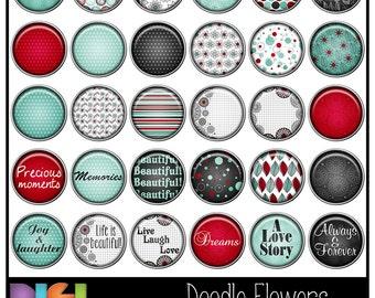 50% OFF Doodle Flowers ~ 30 Digital Brads, Digital, Scrapbooking, Card making, Colorful doodle Digital Brads. Instant Download.