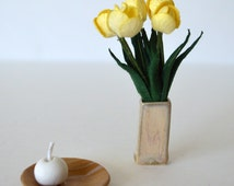Flower bouquet_1:6 scale yellow tulips  in a vase with round candle on a plate_barbie size_playscale home decor_doll diorama flowers_
