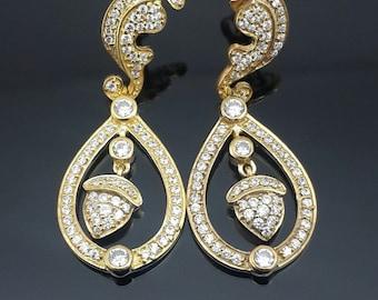 9ct gold Kate Middleton inspired drop dangle earrings