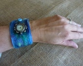 Ladies Leather wrist watch made with silk felted merino wool and silk topping ideal for metal allergy sufferers