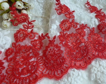 Alencon Lace Red Floral Lace Trim for Bridal, Veils, Sashes, Costume or Jewelry Design