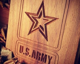 US Army Engraved Challenge Coin Display on SALE, Military Coin Holder, Challenge Coin Military Gifts, FREE Engraved Name and Rank