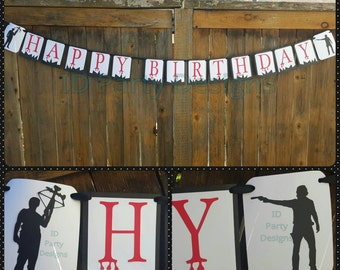 WALKING DEAD BANNER Birthday Viewing Party Daryl Dixon Rick Grimes Zombies Amc