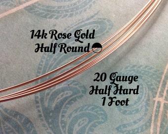 15% Off Shop! 14K ROSE Gold Filled Wire, HALF ROUND, 20 Gauge, 1 Foot, Half Hard