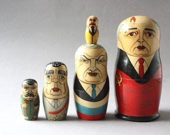 Matroschka, Russian politicans, nesting dolls, Gorbatschow, Matroshka, Matrushka, Matryoshka, Matryoschka, Babushka, Baboushka vintage 80s
