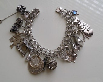 Heavy silver bracelet with various accents, 70g
