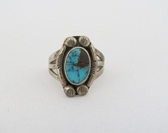 Vintage Southwestern Sterling Silver Turquoise Ring Size 5
