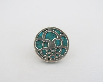 Vintage Artisan Sterling Silver Turquoise Floral Filigree Ring Size 9